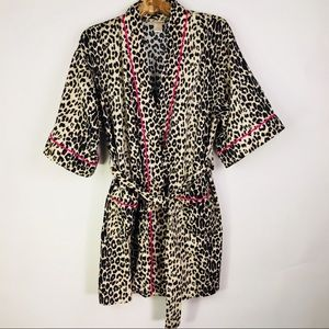 Leopard Print Short Cotton Robe Bedhead Pajamas XS